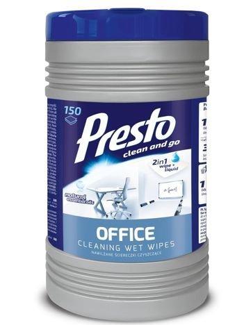 Presto Nawilżane Ściereczki czyszczące 2w1 Office 1op - 150szt (puszka)