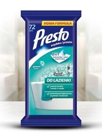 Presto Ściereczki czyszczące + płyn 2 w 1 do łazienki  1 op.- 72 szt