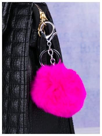 Puchaty brelok do kluczy,zawieszka do torebki pompon fuchsjowy róż  (podwójne zapięcie kółko+ karabińczyk)