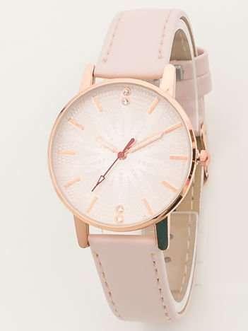 Pudrowy zegarek damski z kwiatem na tarczy