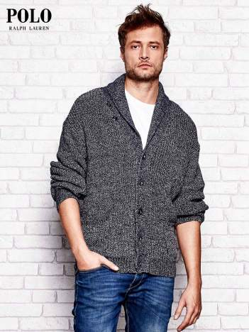 RALPH LAUREN Granatowy melanżowy sweter męski na guziki