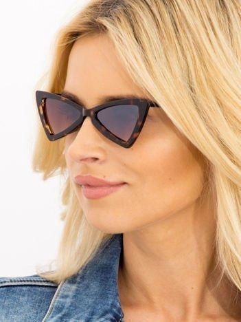 RETRO CAT EYE Brązowe damskie okulary słoneczne KOCIE OCZY