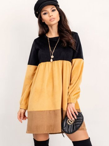 RUE PARIS Czarno-żółta sukienka Selene