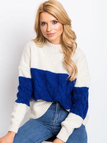RUE PARIS Ecru-kobaltowy sweter Ruffle