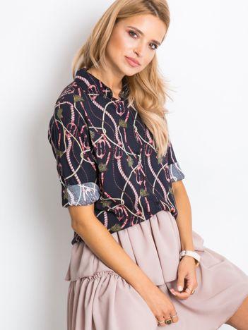 RUE PARIS Granatowa koszula Pinky
