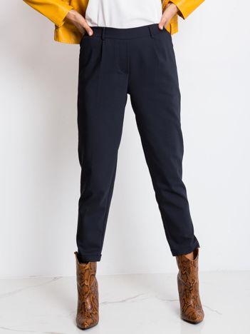 RUE PARIS Granatowe spodnie Control