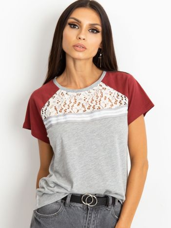 RUE PARIS Szaro-bordowy t-shirt Euphoria