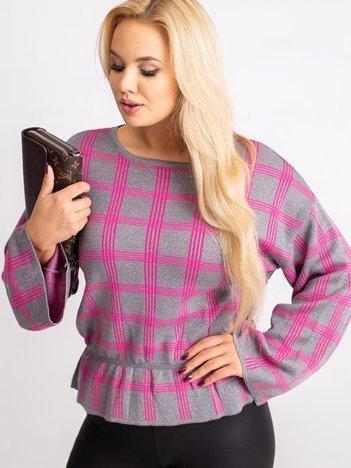 RUE PARIS Szaro-różowy sweter plus size Misty