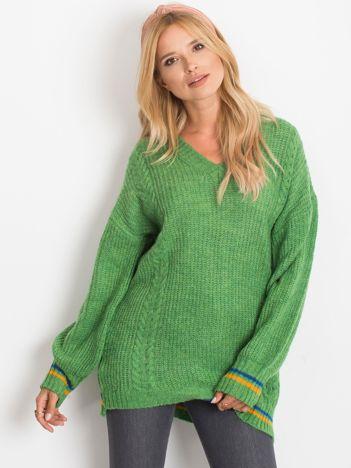 RUE PARIS Zielony sweter Romance