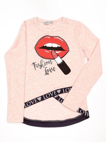 Różowa asymetryczna bluzka dziewczęca nadrukiem ust