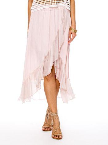 Różowa asymetryczna spódnica z falbanami
