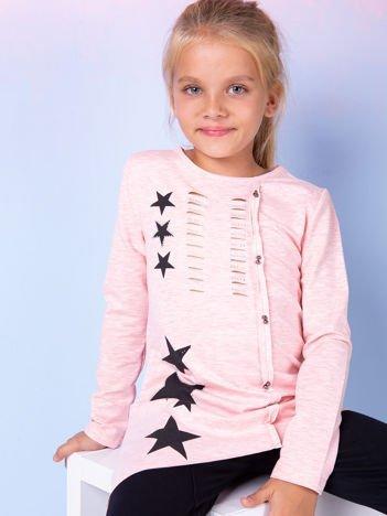 Różowa asymetryczna tunika dziewczęca z gwiazdkami