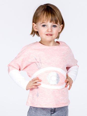 Różowa bawełniana bluza dziewczęca z okiem i pikowaniem