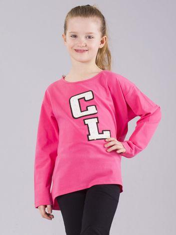 Różowa bluzka dziewczęca z aplikacją z perełkami
