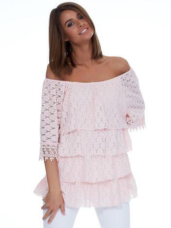 Różowa bluzka z warstwowymi falbanami
