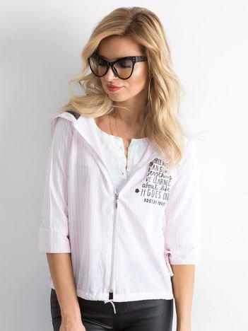 Różowa cienka bluza w paski