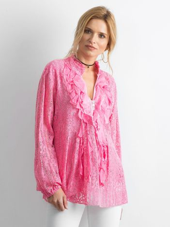 Różowa koronkowa bluzka