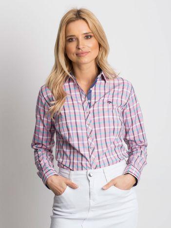 Różowa koszula w kolorową kratę