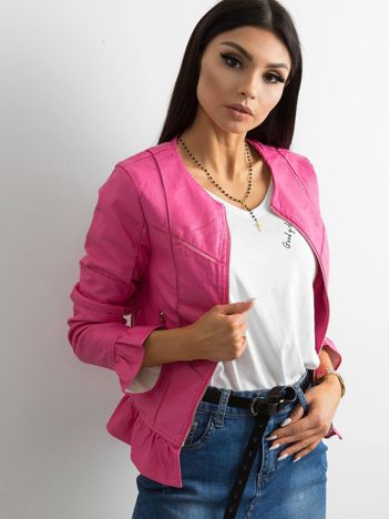 Różowa kurtka z falbanami