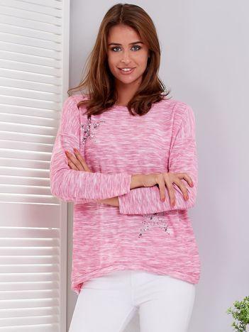 Różowa melanżowa bluzka z gwiazdkami z dżetów