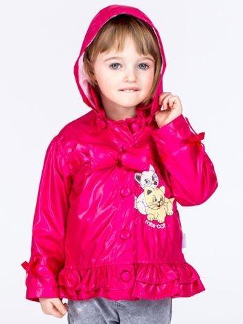 Różowa ortalionowa kurtka dziewczęca z naszywką i odpinanym kapturem