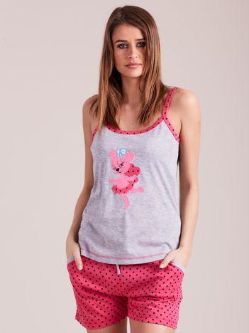 Różowa piżama do spania z nadrukiem