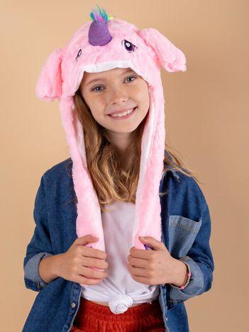 Różowa pluszowa czapka