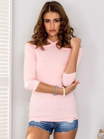 Różowa prążkowana bluzka damska