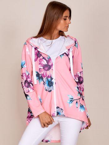 Różowa rozpinana bluza w kwiaty z dłuższym tyłem i kapturem