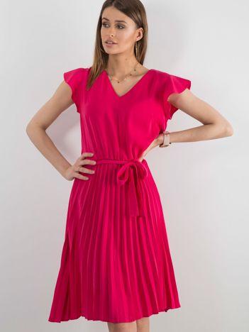 Różowa sukienka damska z wiązaniem