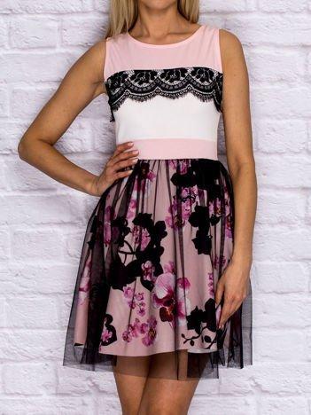 Różowa sukienka koktajlowa z koronką i tiulową spódnicą