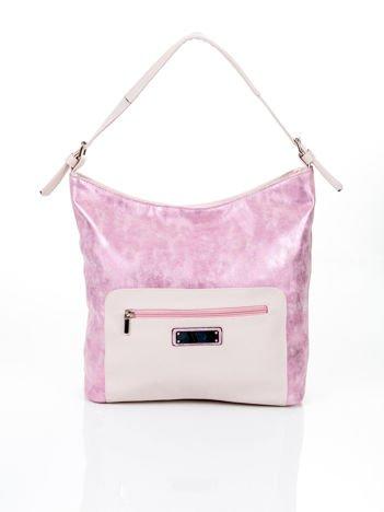 Różowa torba na ramię z błyszczącą wstawką