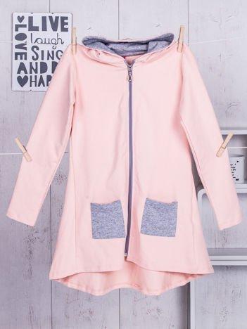 Różowa tunika dla dziewczynki z kapturem