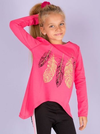Różowa tunika dla dziewczynki z piórkami