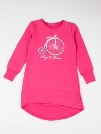 Różowa tunika dziewczęca z nadrukiem i perełkami