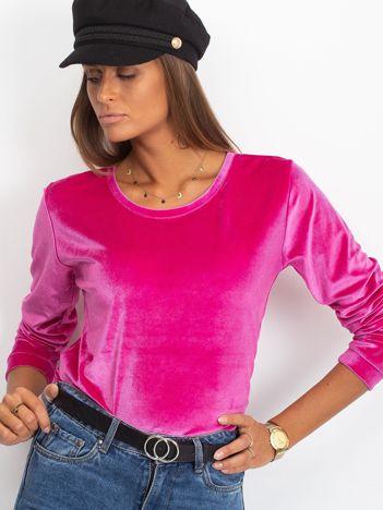 Różowa welurowa bluza damska