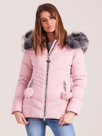 Różowa zimowa kurtka pikowana