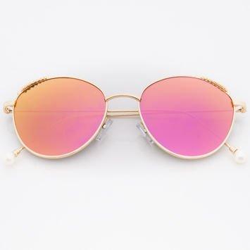 Różowe Damskie Okulary Słoneczne Lustrzane Z PERŁAMI Na Zausznikach