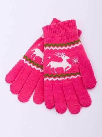 Różowe WEŁNIANE Dziecięce Rękawiczki z RENIFEREM 16cm (5-8lat)
