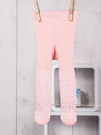 Różowe bawełniane rajstopki niemowlęce ze zdobieniami dla dziewczynki