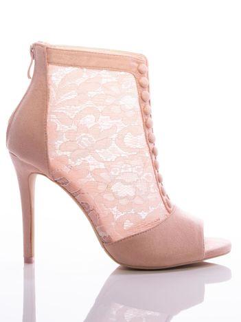 Różowe botki na szpilkach z koronkową cholewką