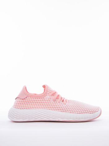 Różowe buty sportowe z ażurową białą siateczką