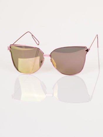 """Różowe eleganckie okulary przeciwsłoneczne """"KOCIE OCZY"""""""