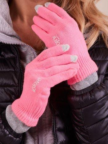 Różowe rękawiczki do ekranów dotykowych