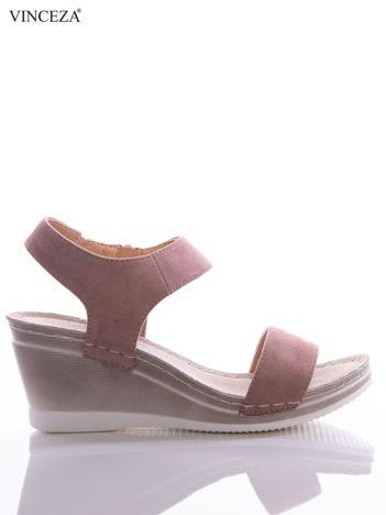 Różowe sandały Vinceza z profilowaną skórzaną podeszwą, na koturnach