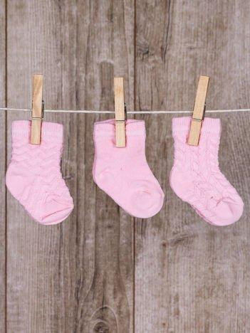 Różowe skarpetki dla dziewczynki zestaw 3 pary