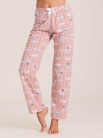 Różowe spodnie do spania z nadrukiem