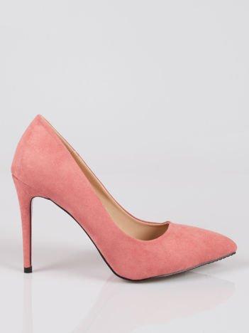 Różowe zamszowe szpilki w szpic faux suede