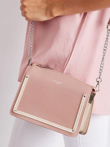 Różowo-beżowa elegancka torebka
