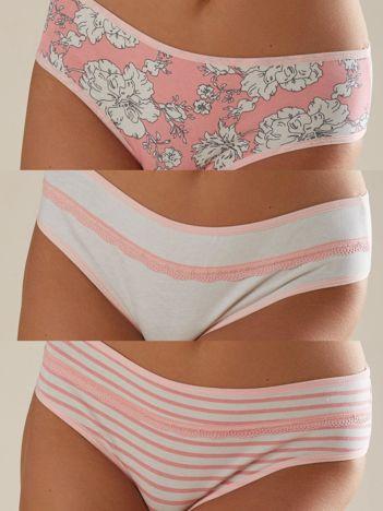 Różowo-białe wzorzyste majtki damskie